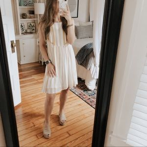 Hem & Thread Striped Yellow Lace Sun Dress